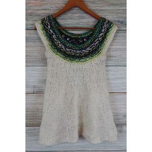 FREE PEOPLE Green Ivory Sweater Tunic Dress XS
